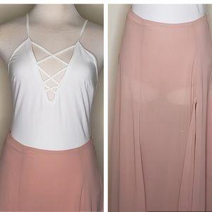 Express white cami + maxi skirt set